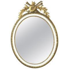 19th Century French Oval Gilded and Painted Mirror