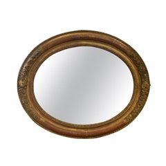 19th Century French Oval Giltwood Vanity Mirror