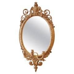 19th Century French Oval Mirror Candle Sconces