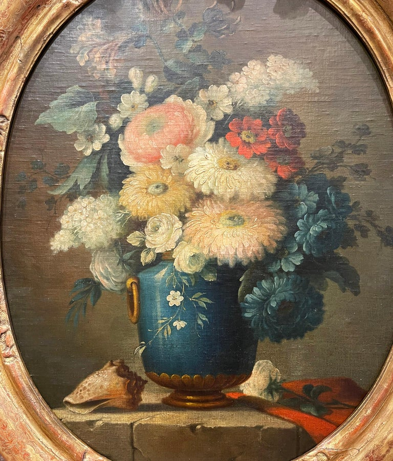 19th Century French Oval Oil on Board Floral Painting in Carved Gilt Frame In Excellent Condition For Sale In Dallas, TX