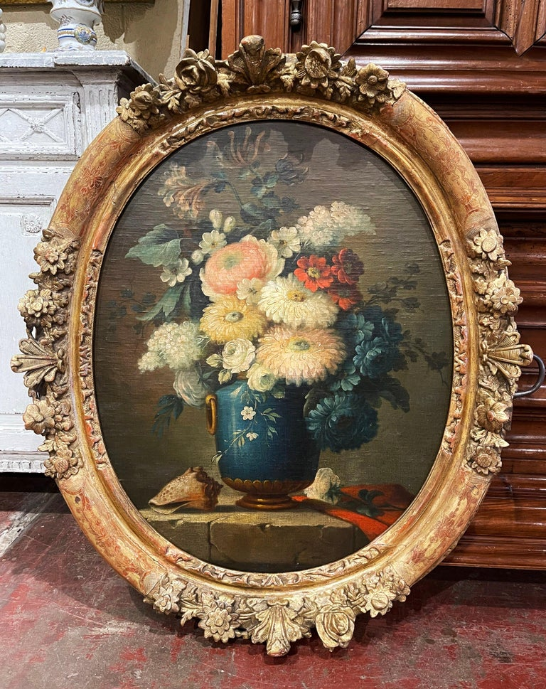 19th Century French Oval Oil on Board Floral Painting in Carved Gilt Frame For Sale 1