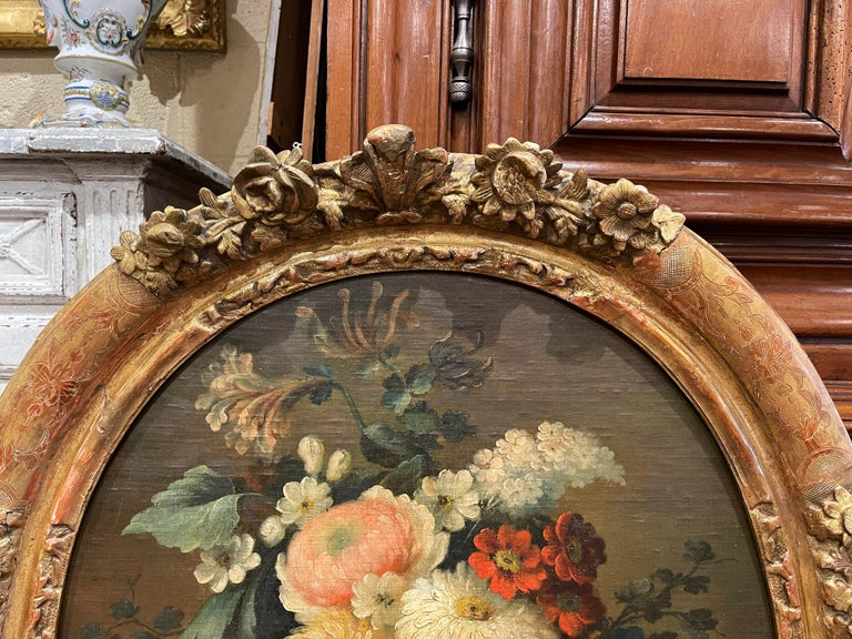 19th Century French Oval Oil on Board Floral Painting in Carved Gilt Frame For Sale 2