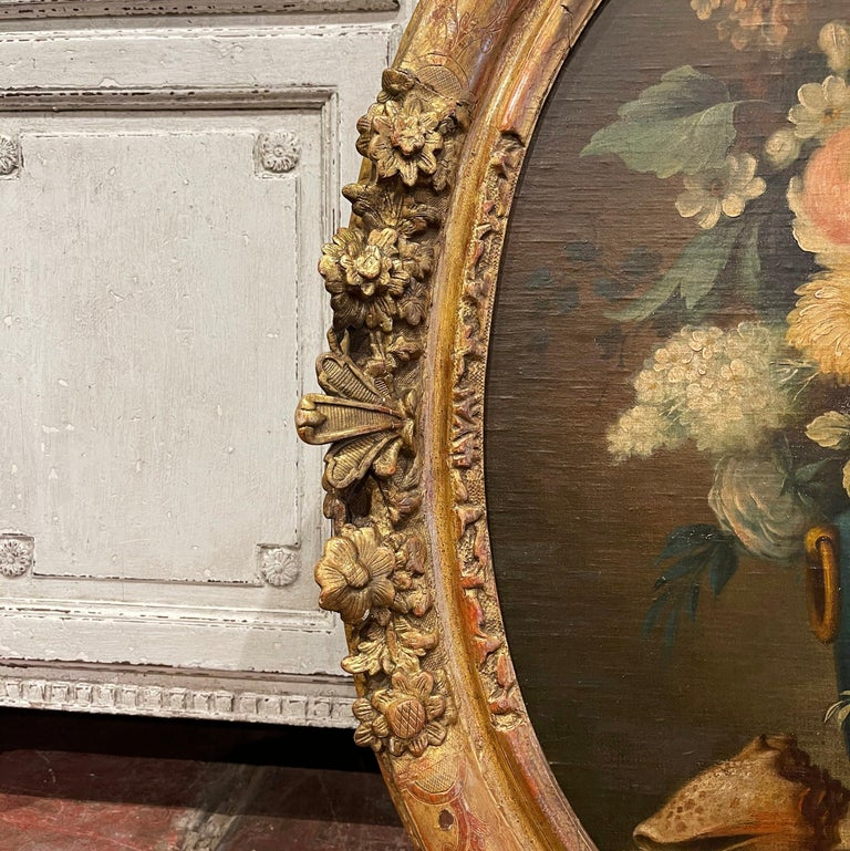 19th Century French Oval Oil on Board Floral Painting in Carved Gilt Frame For Sale 3