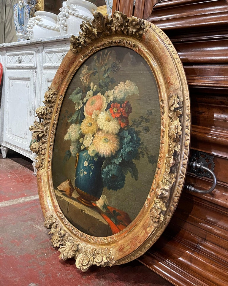 19th Century French Oval Oil on Board Floral Painting in Carved Gilt Frame For Sale 4