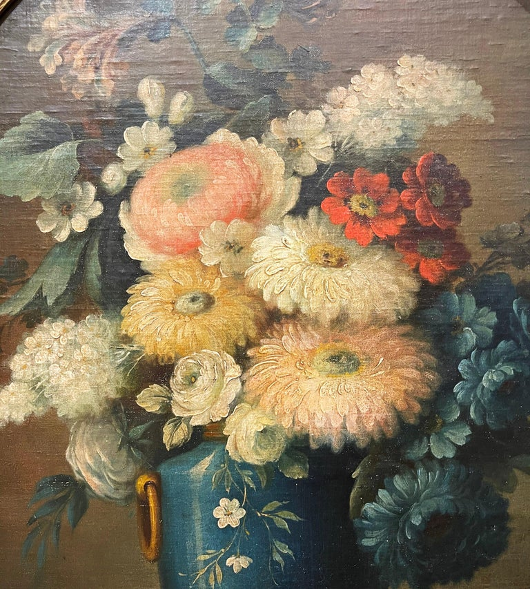 19th Century French Oval Oil on Board Floral Painting in Carved Gilt Frame For Sale 5