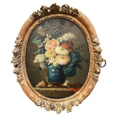 19th Century French Oval Oil on Board Floral Painting in Carved Gilt Frame