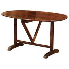 19th Century French Oval Walnut Tilt-Top Wine Tasting Table from Burgundy