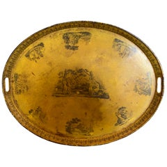 19th Century French Oval Yellow Tole Tray