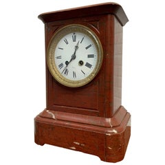 19th Century French Ox-Blood Marble Table Clock