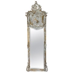 19th Century French Painted and Gilt Pier Style Mirror