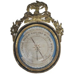 19th Century French Painted and Gilt Wood Barometer 'Barometre'