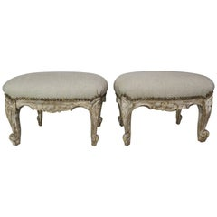 19th Century French Painted Benches/Footstools, Pair