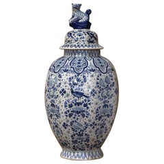19th Century French Painted Blue and White Delft Faience Jar Vase with Lid