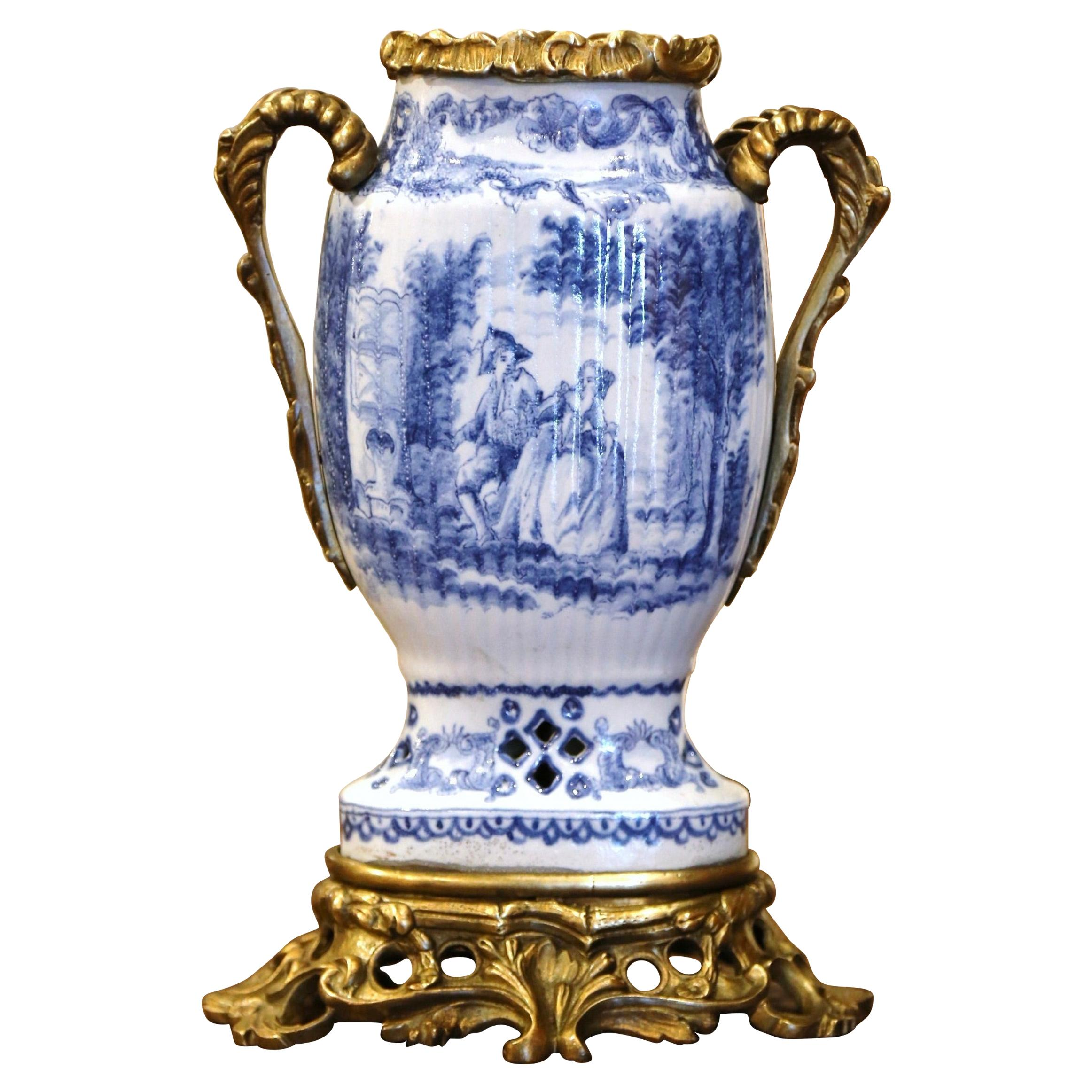 19th Century French Painted Blue and White Faience and Gilt Bronze Delft Vase