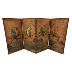 19th Century French Painted Burlap Folding Screen