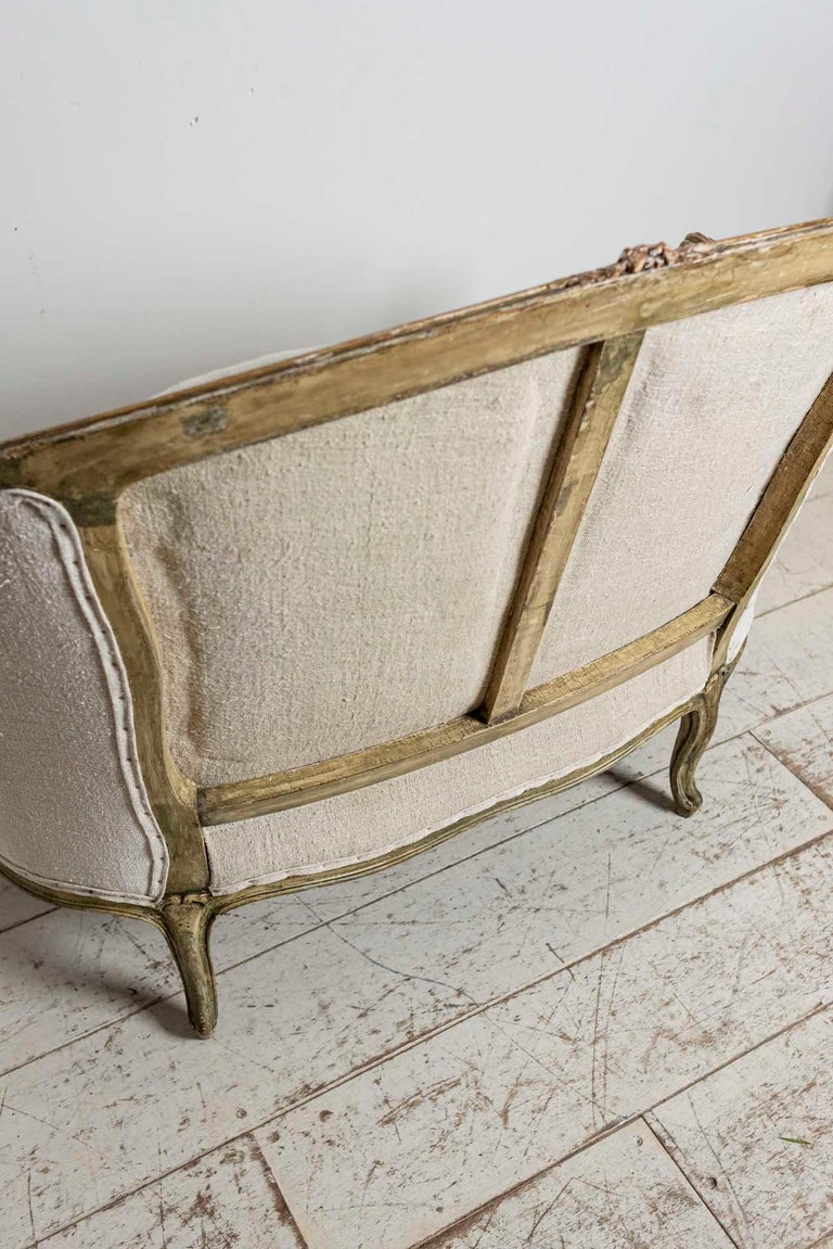 19th Century French Painted Button Backed Linen Two-Seat Carved Curved Sofa For Sale 6