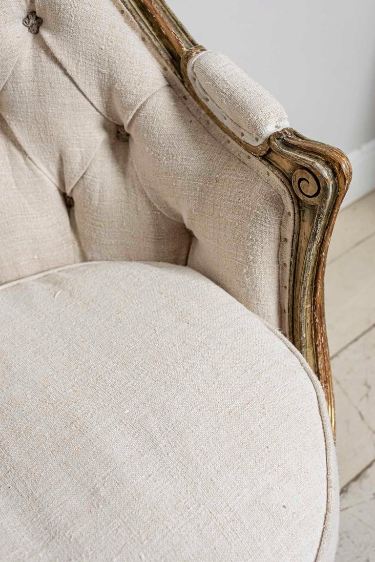 19th Century French Painted Button Backed Linen Two-Seat Carved Curved Sofa For Sale 3