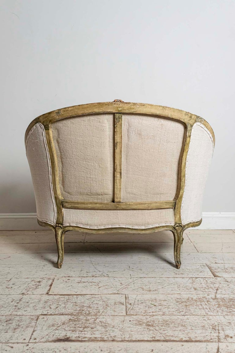 19th Century French Painted Button Backed Linen Two-Seat Carved Curved Sofa For Sale 5
