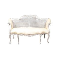 19th Century French Painted Cane Settee