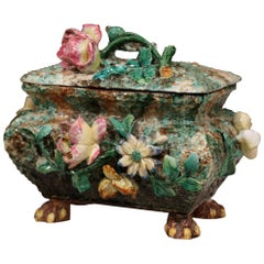 19th Century French Painted Ceramic Barbotine Box with Floral Motif