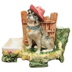 19th Century French Painted Ceramic Barbotine Bulldog Mantel Match Safe