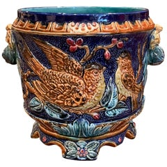 19th Century French Painted Ceramic Barbotine Cache Pot with Doves and Foliage