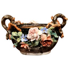 19th Century French Painted Ceramic Barbotine Jardinière with Floral Decor