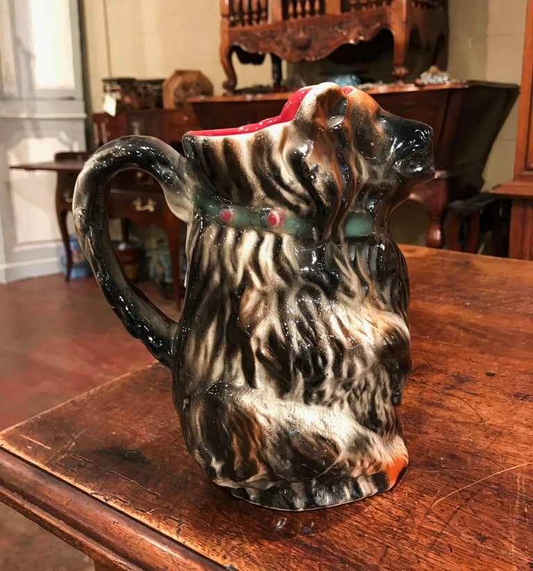 Hand-Crafted 19th Century French Painted Ceramic Barbotine Poet-Laval Bear Pitcher For Sale