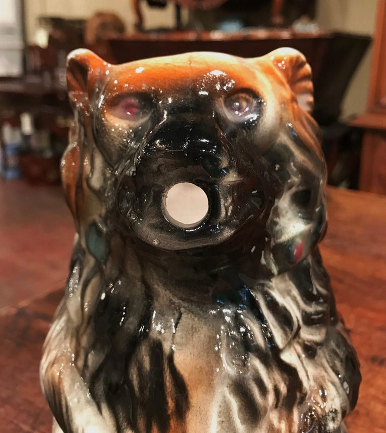 19th Century French Painted Ceramic Barbotine Poet-Laval Bear Pitcher For Sale 2