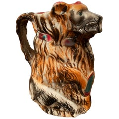 19th Century French Painted Ceramic Barbotine Poet-Laval Bear Pitcher