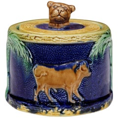 19th Century French Painted Ceramic Barbotine Sugar Bowl with Lid and Cow Decor