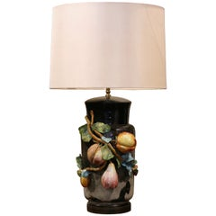 19th Century French Painted Ceramic Barbotine Table Lamp from Montigny-sur-Loing