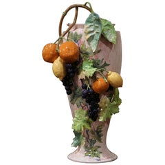 19th Century French Painted Ceramic Barbotine Vase with Fruit and Foliage Decor