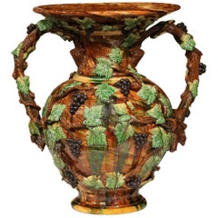 19th Century French Painted Ceramic Barbotine Vase with Vine, Grape & Leaf Decor