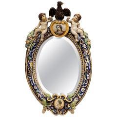 19th Century French Painted Ceramic Freestanding Beveled Vanity Mirror