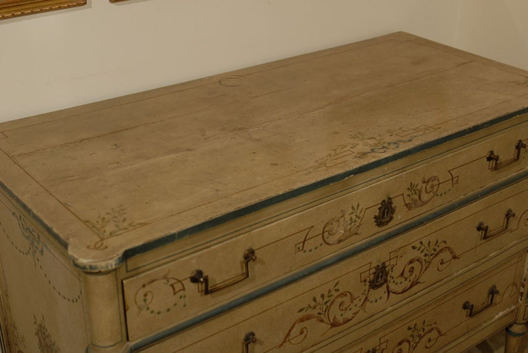19th century French painted commode Louis XVI style.
