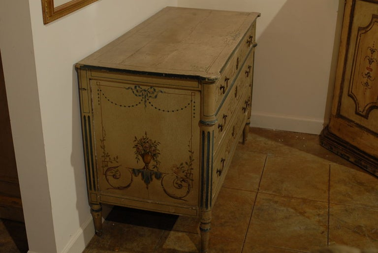 19th Century French Painted Commode Louis XVI Style In Good Condition In Atlanta, GA