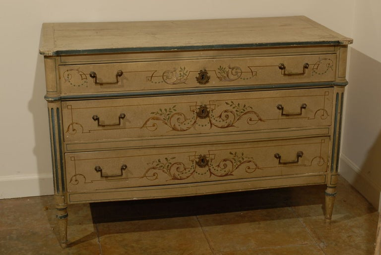 19th Century French Painted Commode Louis XVI Style 4