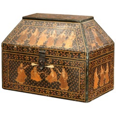 19th Century French Painted Decorative Wood Box with Oriental Figure Decor