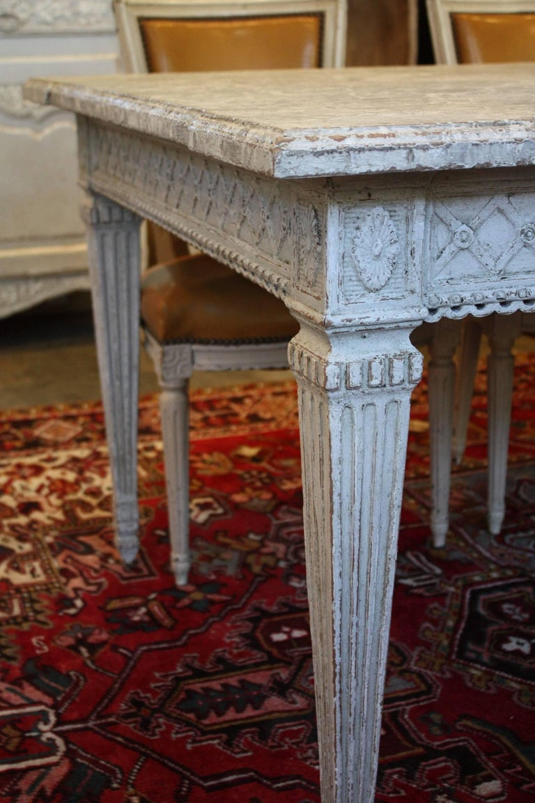 19th Century French Painted Dining Room Table With Faux