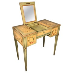 19th Century French Painted Dressing Table with Hinged Mirror Top