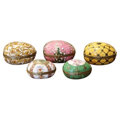 19th Century French Painted Faberge Porcelain Egg Trinket Boxes, Set of 5