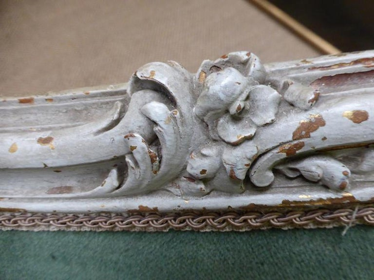 19th Century French Painted Louis XV Style Sofa In Fair Condition In LEGNY, FR