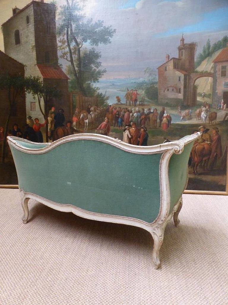Velvet 19th Century French Painted Louis XV Style Sofa