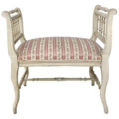 19th Century French Painted Louis XVI Armbench, Banquette