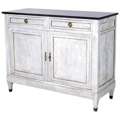 19th Century French Painted Louis XVI Style Buffet with Black Marble Top