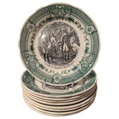 19th Century French Painted Napoleonic Sarreguemines Ceramic Plates, Set of 9