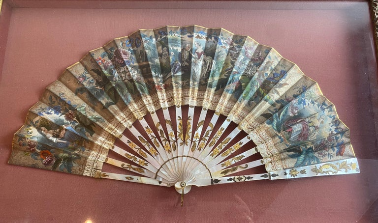 19th Century French Painted Paper and Mother of Pearl Fan For Sale 3