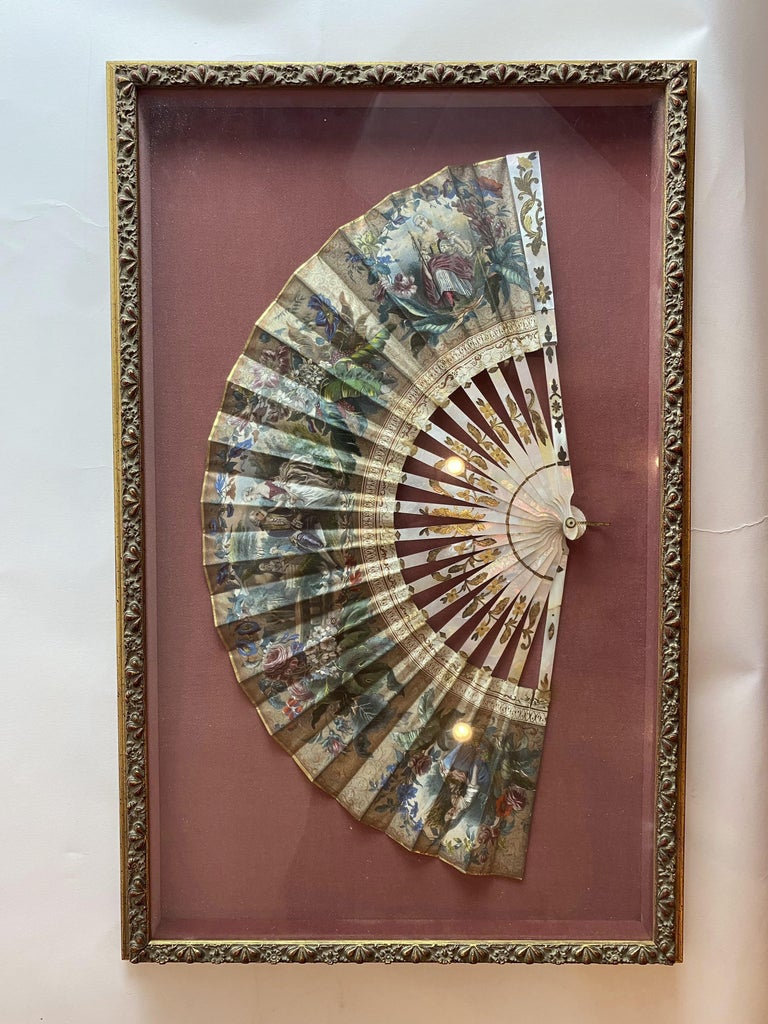19th Century French Painted Paper and Mother of Pearl Fan For Sale 4