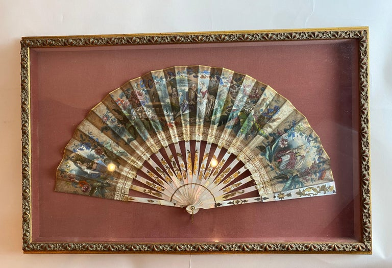 19th Century French Painted Paper and Mother of Pearl Fan For Sale 5